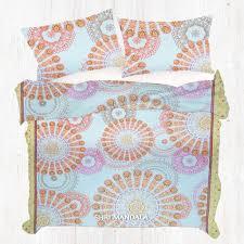 king size yellow orange and pink bohemian duvet cover set