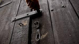 old wooden door opens old brown door