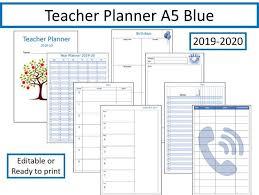 Teacher Planner 2019 2020 Fully Editable A5 Blue Version
