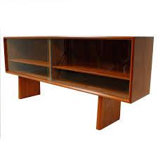 low danish modern teak sideboard hutch top with sliding glass doors