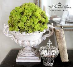 Decorating With Moss Balls Decorating for Spring Indoors Marble top table Urn and 82