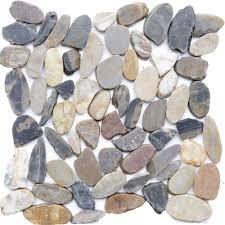 islander sienna mosaic 12 in x 12 in sliced natural pebble stone floor and