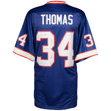 Fanatics Limited Buffalo Authentic 34 Multiple Pro Inscriptions- With Thurman Of Blue Bills Thomas A Edition Line 2-33 Autographed Jersey