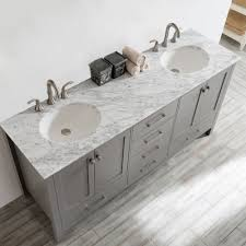 grey double vanity. Simple Double Shop Gela 72inch Grey Double Vanity With Carrera White Marble Top Without  Mirror  Free Shipping Today Overstockcom 10601778 Intended O