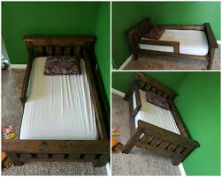 rustic bed plans.  Plans Rustic Farmhouse Toddler Bed Built From Ana White Plans Added Guard Rails   Adjusted Length Throughout Bed Plans