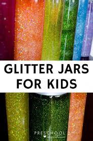 glitters jars as a calming activity and sensory bottle for kids preschool kindergarten