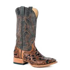 free us for orders 100 up back order eta 07 25 2019 stetson men s wicks hand tooled leather overlay boots
