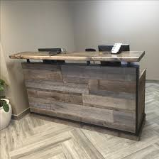 barn wood reception desk front counter hostess station