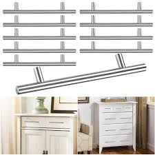 10pcs 8 t bar brushed stainless steel kitchen cabinet door handles 5 hole center