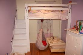couch bed for kids. Beautiful Bedroom Loft Designs For Kids With Wooden Flooring And Pink Wall Paint Also White Cabinet Storage Sets Small Couch Bed Plus