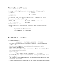 ch3co2h carboxylic acid questions 1 arrange the following in order