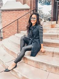 laundry by shelli segal belted vest stripe tee faux leather leggings valentino flats sunglasses