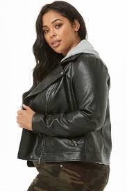 plus size faux leather combo moto jacket