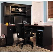 black l shaped desk with drawers