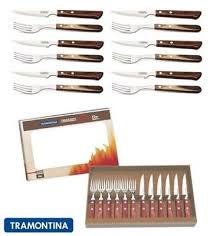 tramontina churrasco premium wood steak knife knives fork set of 12 2 colours