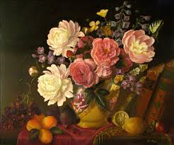 jeanne illenye large classical oil painting still life white