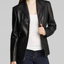 new cole haan womens wing collar leather jacket