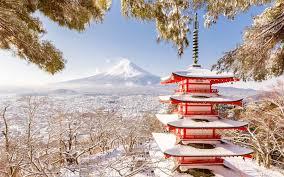 Wallpaper Japan Fuji Mount Pagoda Winter Snow Trees