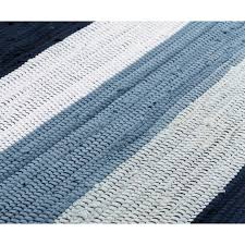 cotton rug blue white striped