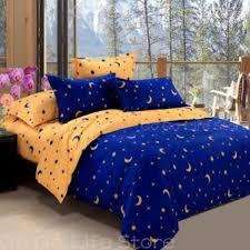 senarai harga f q k size dark blue star moon quilt cover terkini di malaysia paling laris di malaysia