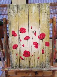 red poppies on reclaimed wood wall art  on painted reclaimed wood wall art with amy parker art