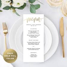 Lovely Calligraphy Menu Card Faux Gold Foil Lcg