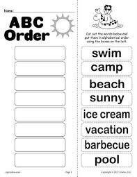 Alphabetical Order Free Summer Alphabetical Order Worksheet Worksheets Activities