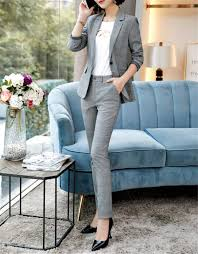 Womens Light Gray Pant Suit Frozac Gray Plaid Pants Suits Women Autumn Winter Business