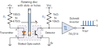input interfacing circuits connect to the real world slotted opto switch circuit