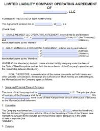 Free New Hampshire Llc Operating Agreement Template | Pdf | Word |