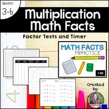 Multiplication Math Facts Factor Tests Timer Incentive Chart
