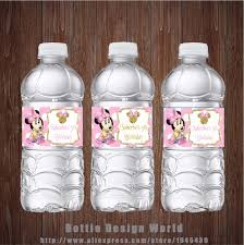 Decorating Water Bottles For Baby Shower 100 pcslot Minnie Mouse pink Dot Water Bottle Labels Candy Bar 83