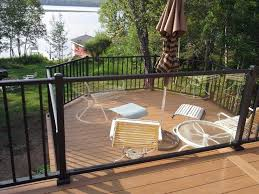 wood wizards azek deck with westbury aluminum railing and glass glass panel deck railing