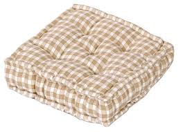 cream colour gingham check dining garden chair booster cushion seat pad