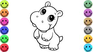 Small Picture How to Draw Baby Hippo Coloring Pages for Kids Creativity and