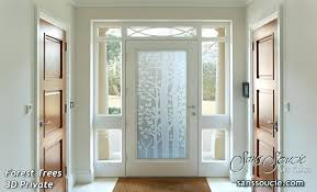 glass front doors glass entry doors etched glass trees rustic style forest trees private stained glass