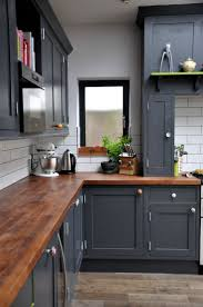 Kitchens:Perfect DIY Small Kitchen With Gray Kitchen Cabinet And Wood  Countertop Also White Backsplash