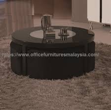 black round coffee table with seating underneath office furniture malaysia batu caves gombak bukit jalil1a