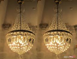 pair of antique vnt french basket style crystal chandelier lamp 1940 s 13 width