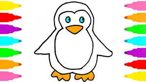 how to draw penguin for kids drawing and coloring book for kids children learn colors