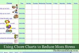 Free Monthly Chore Chart Template Free Excel Chore Chart Template Thestressedmom Com