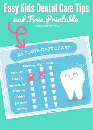 Free Printable Tooth Brushing Chart Easy Kids Dental Care Tips And Free Printable Oh My Creative