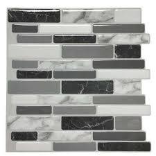grey vinyl l and stick wall tile backsplash for