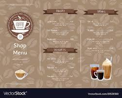 Cafe Menu Template Coffee Shop Horizontal Menu Template