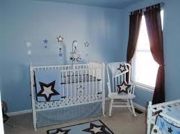 Light Blue Wallpaper Bedroom Bedroom White Wooden Baby Cribs Star Wallpaper Blinds Curtain