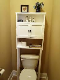 Small Bathroom Storage Over Toilet Grey Marble Floor Brown Fibre
