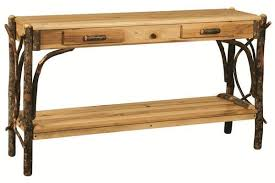 rustic hickory wood sofa table from