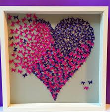butterflies heart wall art paper craft heart in 3d wooden frame on 3d paper heart wall art with butterflies heart wall art paper craft heart in 3d wooden frame