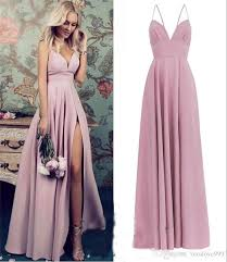 2019 Blush Pink Plus Size Bridesmaids Dresses A Line Long Satin High Split Simple Country Beach Maid Of Honors Wedding Guest Gowns Affordable