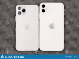 Apple IPhone 11 White And Apple IPhone 11 Pro Silver Color On A Gray  Surface. Editorial Photography - Image of everyday, carry: 170016307